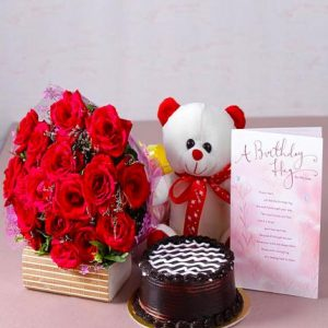 Combo Gift (Cake – Flowers – Teddy Bear – Birthday Card)
