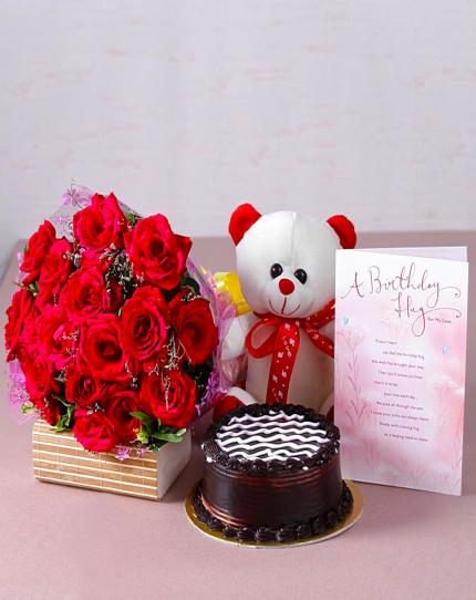 Combo Gift Cake Flowers Teddy Bear Birthday Card