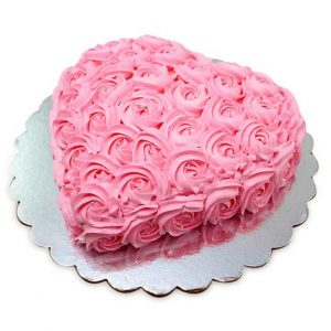 Pink Roses Heart Cake